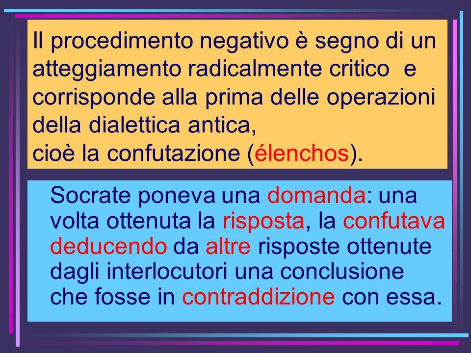 Il procedimento negativo è segno di un atteggiamento radicalmente critico e corrisponde alla prima delle operazioni della dialettica antica, cioè la c