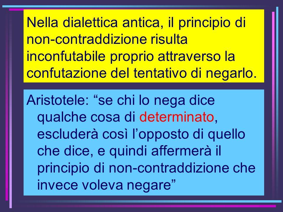 Nella dialettica antica, il principio di non-contraddizione risulta inconfutabile proprio attraverso la confutazione del tentativo di negarlo. Aristot