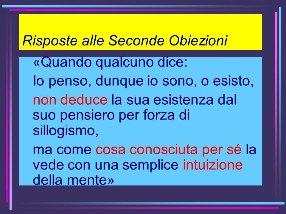 Risposte alle Seconde Obiezioni «Quando qualcuno dice: Io penso, dunque io sono, o esisto, non deduce la sua esistenza dal suo pensiero per forza di s