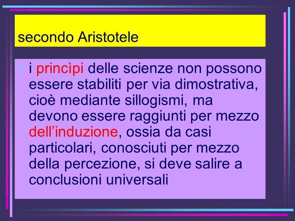 secondo Aristotele i princìpi delle scienze non possono essere stabiliti per via dimostrativa, cioè mediante sillogismi, ma devono essere raggiunti pe