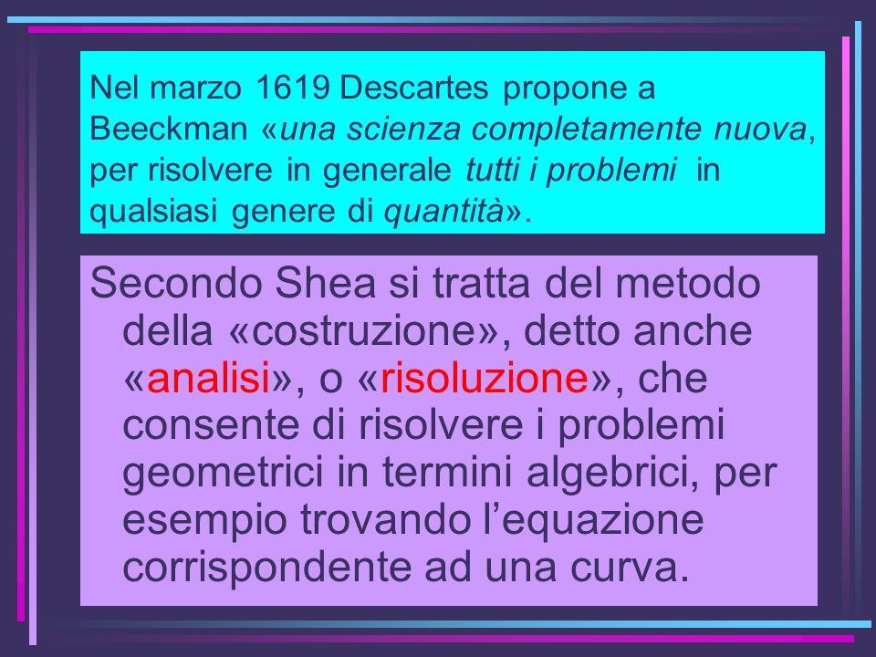 Nel marzo 1619 Descartes propone a Beeckman «una scienza completamente nuova, per risolvere in generale tutti i problemi in qualsiasi genere di quanti