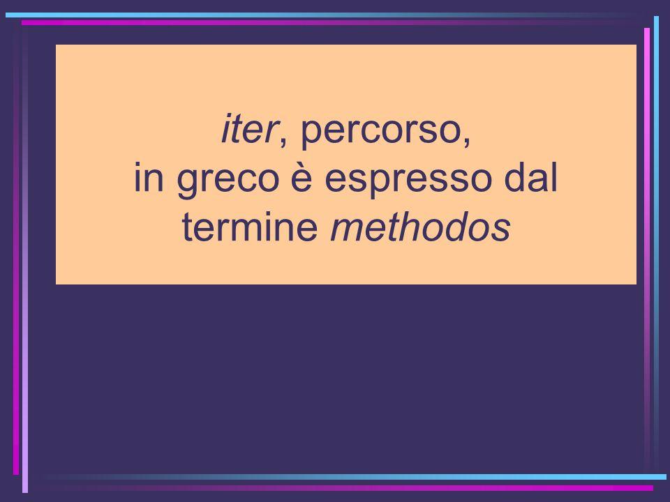 iter, percorso, in greco è espresso dal termine methodos