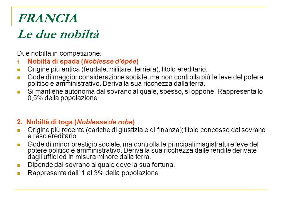 FRANCIA Le due nobiltà Due nobiltà in competizione: 1.