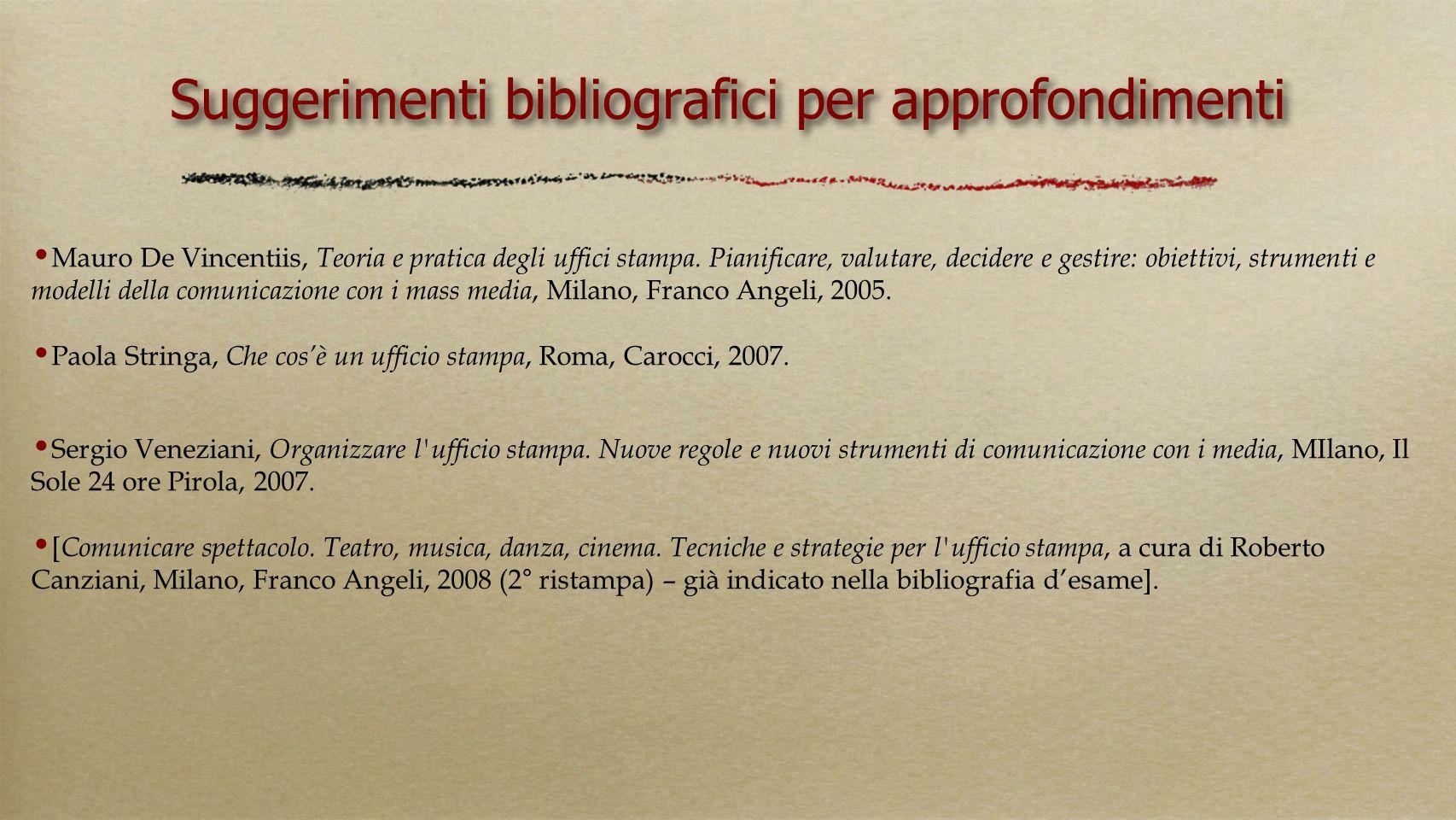 Suggerimenti bibliografici per approfondimenti Mauro De Vincentiis, Teoria e pratica degli uffici stampa. Pianificare, valutare, decidere e gestire: o