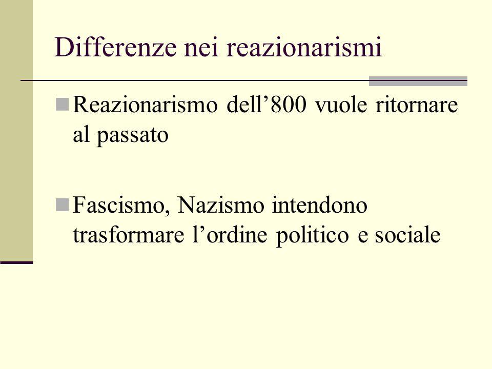 Differenze nei reazionarismi Reazionarismo dell800 vuole ritornare al passato Fascismo, Nazismo intendono trasformare lordine politico e sociale