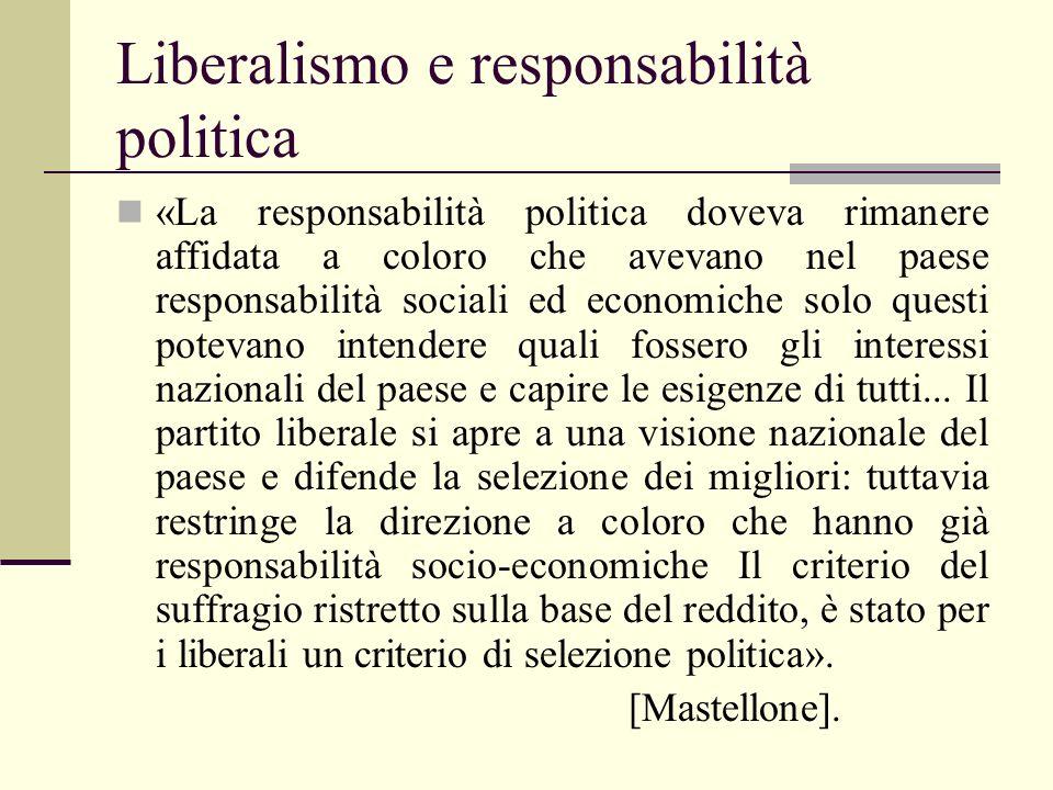 Liberalismo e responsabilità politica «La responsabilità politica doveva rimanere affidata a coloro che avevano nel paese responsabilità sociali ed ec