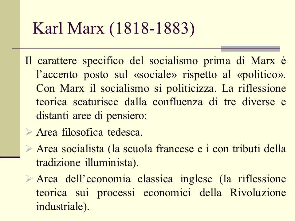Karl Marx (1818-1883) Il carattere specifico del socialismo prima di Marx è laccento posto sul «sociale» rispetto al «politico». Con Marx il socialism