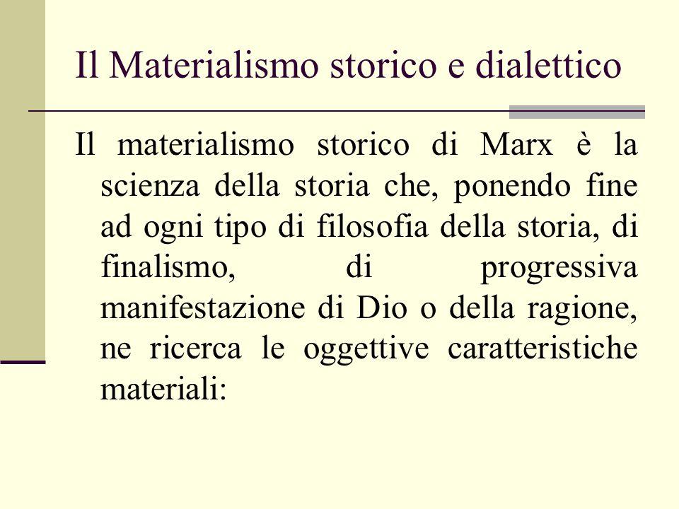Il Materialismo storico e dialettico Il materialismo storico di Marx è la scienza della storia che, ponendo fine ad ogni tipo di filosofia della stori
