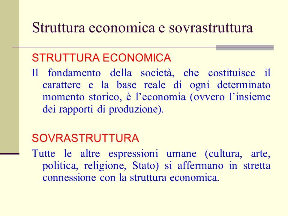 Struttura economica e sovrastruttura STRUTTURA ECONOMICA Il fondamento della società, che costituisce il carattere e la base reale di ogni determinato