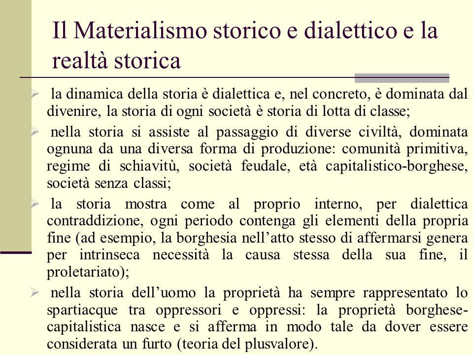 Il Materialismo storico e dialettico e la realtà storica la dinamica della storia è dialettica e, nel concreto, è dominata dal divenire, la storia di