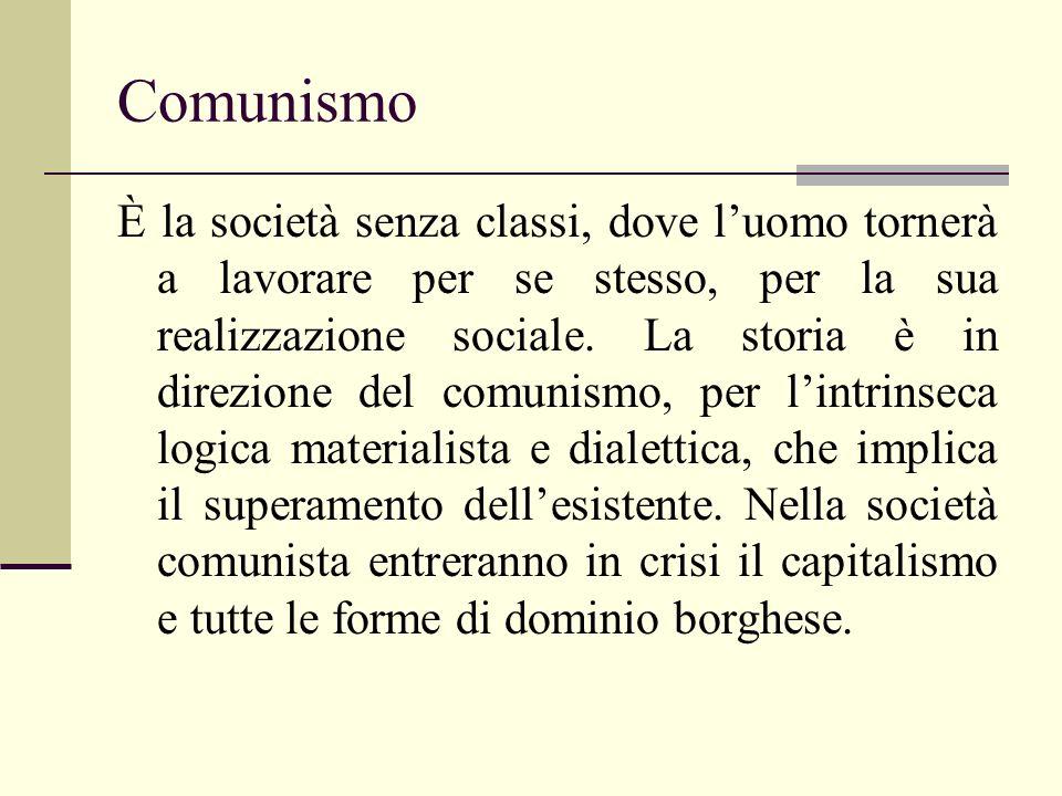 Comunismo È la società senza classi, dove luomo tornerà a lavorare per se stesso, per la sua realizzazione sociale. La storia è in direzione del comun