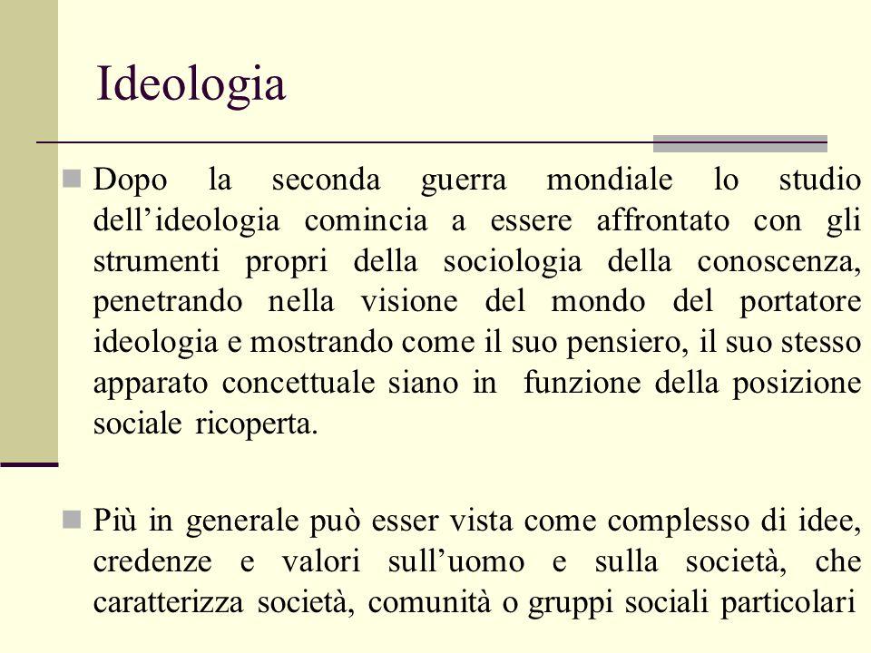 Ideologia Dopo la seconda guerra mondiale lo studio dellideologia comincia a essere affrontato con gli strumenti propri della sociologia della conosce