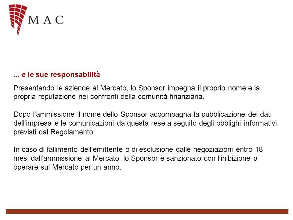 ... e le sue responsabilità Presentando le aziende al Mercato, lo Sponsor impegna il proprio nome e la propria reputazione nei confronti della comunit