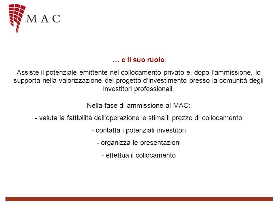 … e il suo ruolo Assiste il potenziale emittente nel collocamento privato e, dopo lammissione, lo supporta nella valorizzazione del progetto dinvestimento presso la comunità degli investitori professionali.