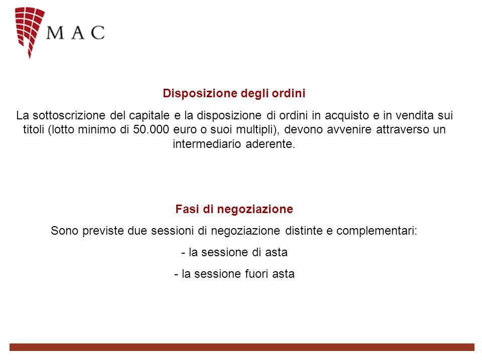 Disposizione degli ordini La sottoscrizione del capitale e la disposizione di ordini in acquisto e in vendita sui titoli (lotto minimo di 50.000 euro o suoi multipli), devono avvenire attraverso un intermediario aderente.