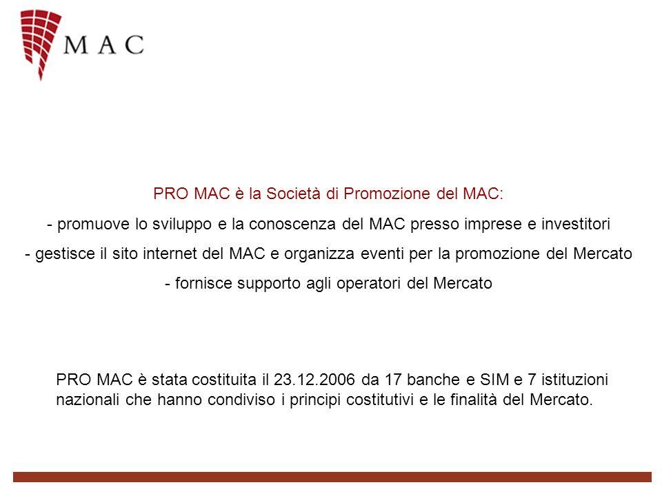 PRO MAC è la Società di Promozione del MAC: - promuove lo sviluppo e la conoscenza del MAC presso imprese e investitori - gestisce il sito internet del MAC e organizza eventi per la promozione del Mercato - fornisce supporto agli operatori del Mercato PRO MAC è stata costituita il 23.12.2006 da 17 banche e SIM e 7 istituzioni nazionali che hanno condiviso i principi costitutivi e le finalità del Mercato.