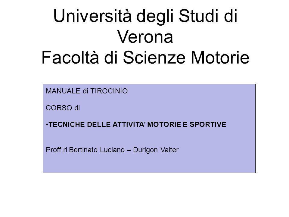 Fare clic per modificare lo stile del sottotitolo dello schema Università degli Studi di Verona Facoltà di Scienze Motorie MANUALE di TIROCINIO CORSO