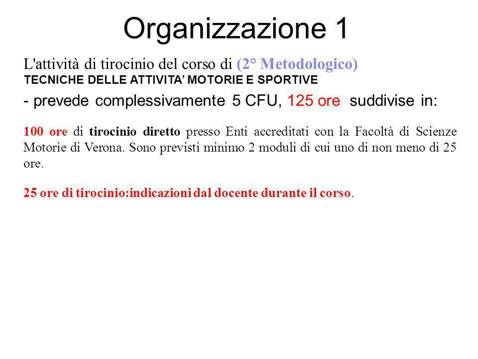 Organizzazione 1 L'attività di tirocinio del corso di (2° Metodologico) TECNICHE DELLE ATTIVITA MOTORIE E SPORTIVE - prevede complessivamente 5 CFU, 1