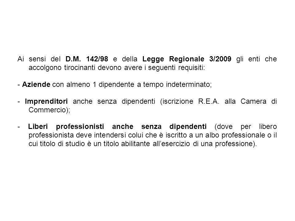 Ai sensi del D.M. 142/98 e della Legge Regionale 3/2009 gli enti che accolgono tirocinanti devono avere i seguenti requisiti: - Aziende con almeno 1 d
