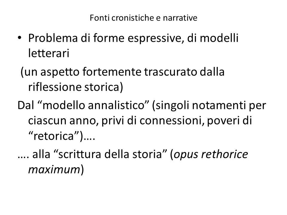 Fonti cronistiche e narrative Problema di forme espressive, di modelli letterari (un aspetto fortemente trascurato dalla riflessione storica) Dal mode