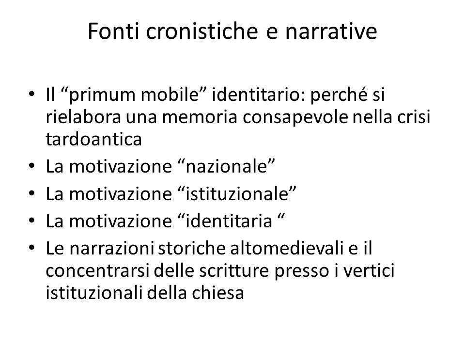 Fonti cronistiche e narrative Il primum mobile identitario: perché si rielabora una memoria consapevole nella crisi tardoantica La motivazione naziona