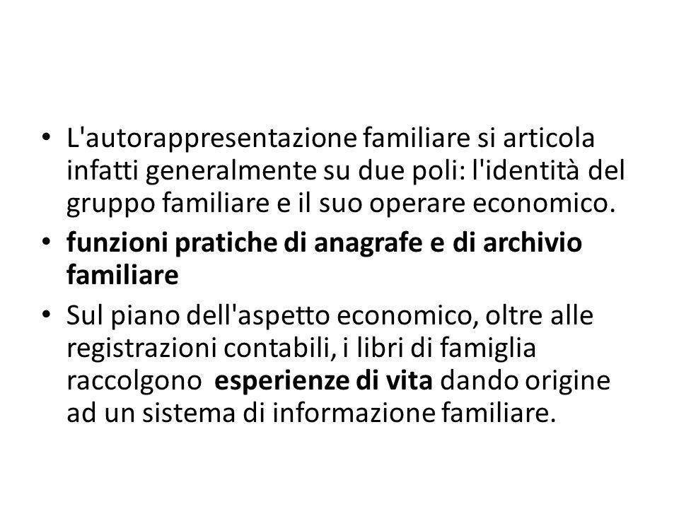 L'autorappresentazione familiare si articola infatti generalmente su due poli: l'identità del gruppo familiare e il suo operare economico. funzioni pr