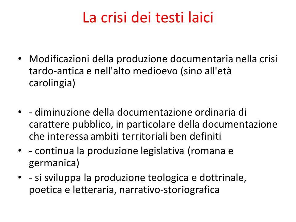 La crisi dei testi laici Modificazioni della produzione documentaria nella crisi tardo-antica e nell'alto medioevo (sino all'età carolingia) - diminuz