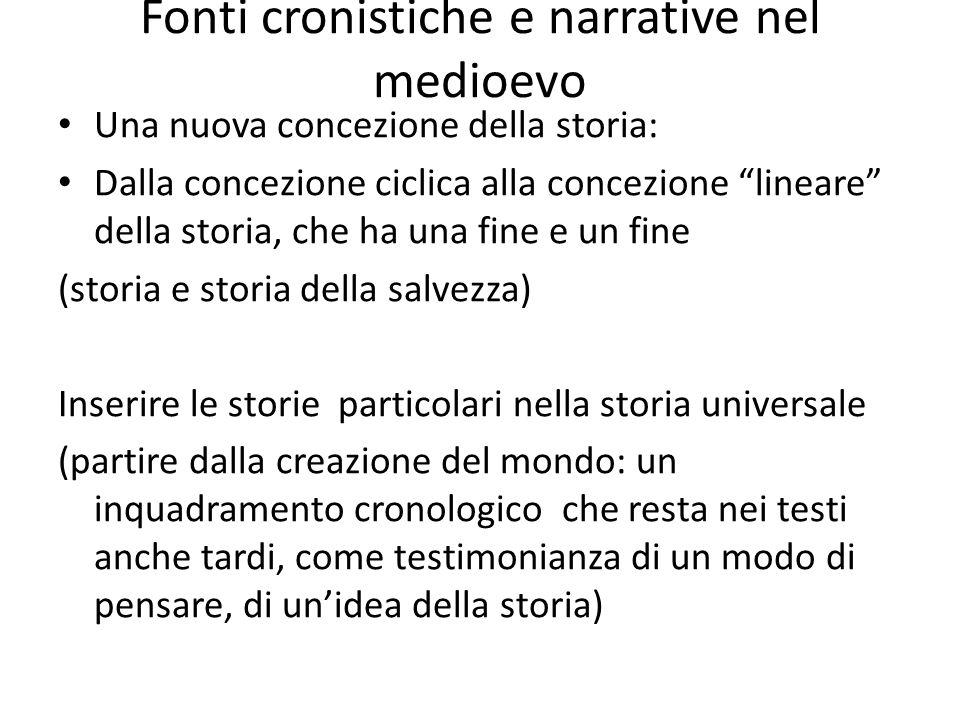 Fonti cronistiche e narrative nel medioevo Una nuova concezione della storia: Dalla concezione ciclica alla concezione lineare della storia, che ha un