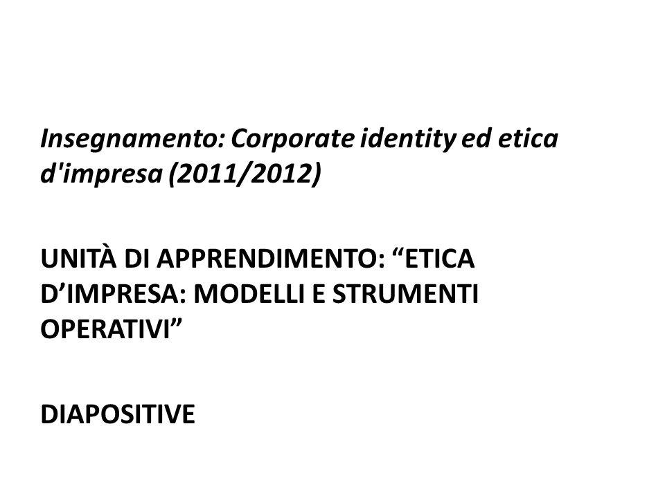 Insegnamento: Corporate identity ed etica d impresa (2011/2012) UNITÀ DI APPRENDIMENTO: ETICA DIMPRESA: MODELLI E STRUMENTI OPERATIVI DIAPOSITIVE