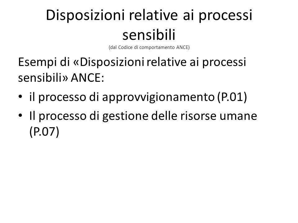 Disposizioni relative ai processi sensibili (dal Codice di comportamento ANCE) Esempi di «Disposizioni relative ai processi sensibili» ANCE: il processo di approvvigionamento (P.01) Il processo di gestione delle risorse umane (P.07)
