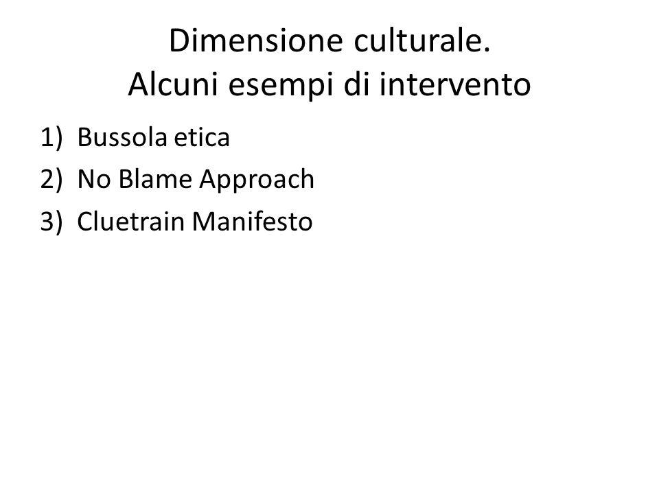Dimensione culturale. Alcuni esempi di intervento 1)Bussola etica 2)No Blame Approach 3)Cluetrain Manifesto