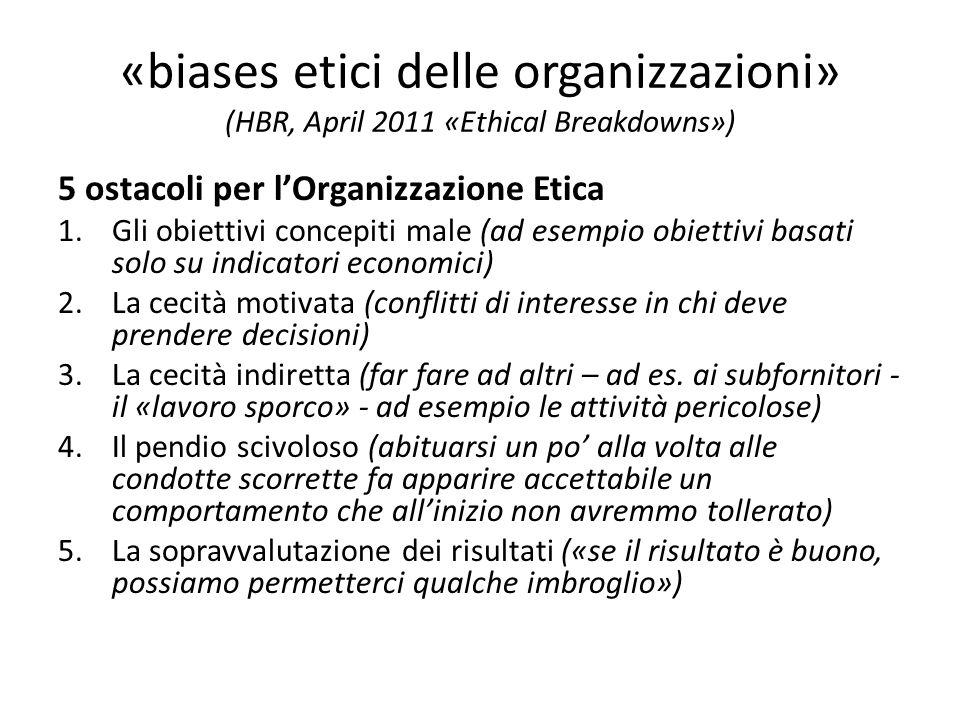«biases etici delle organizzazioni» (HBR, April 2011 «Ethical Breakdowns») 5 ostacoli per lOrganizzazione Etica 1.Gli obiettivi concepiti male (ad esempio obiettivi basati solo su indicatori economici) 2.La cecità motivata (conflitti di interesse in chi deve prendere decisioni) 3.La cecità indiretta (far fare ad altri – ad es.