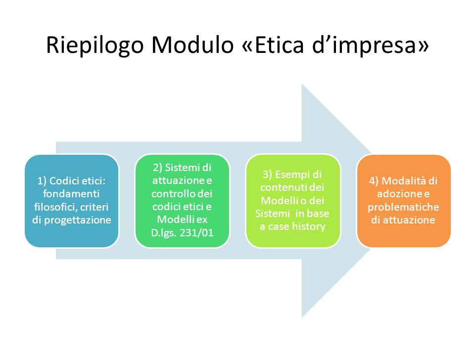 Riepilogo Modulo «Etica dimpresa» 1) Codici etici: fondamenti filosofici, criteri di progettazione 2) Sistemi di attuazione e controllo dei codici etici e Modelli ex D.lgs.