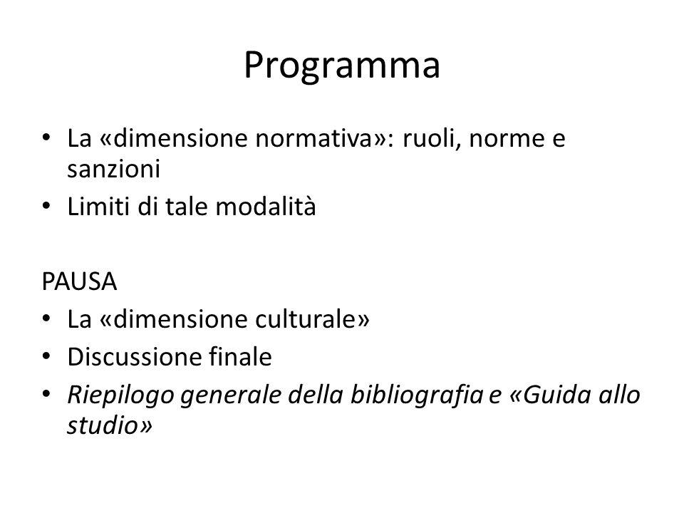 Programma La «dimensione normativa»: ruoli, norme e sanzioni Limiti di tale modalità PAUSA La «dimensione culturale» Discussione finale Riepilogo generale della bibliografia e «Guida allo studio»