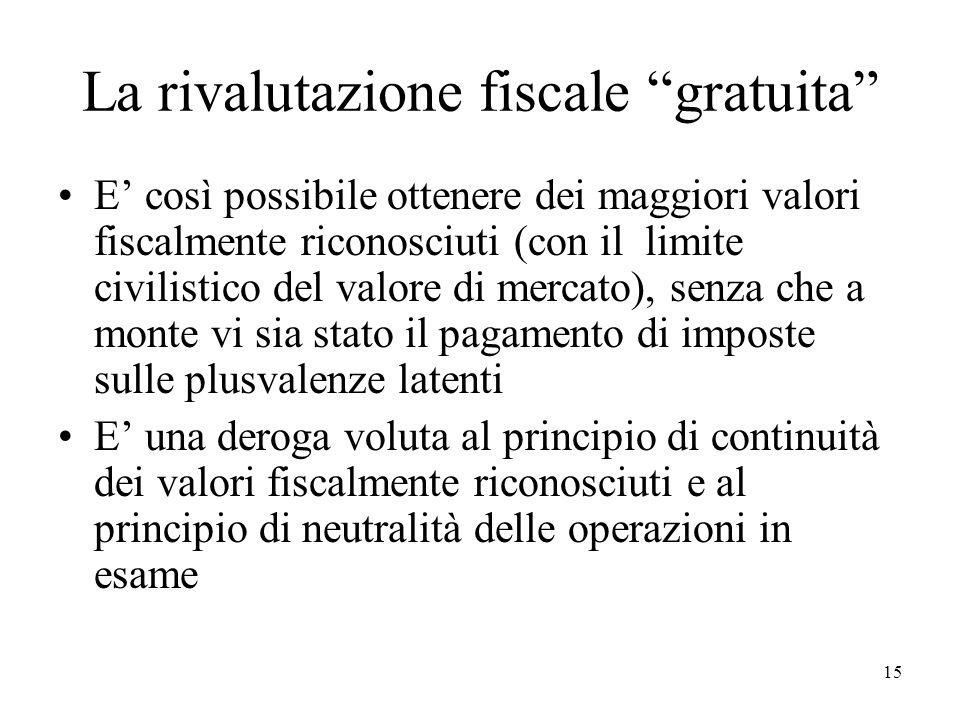 La rivalutazione fiscale gratuita E così possibile ottenere dei maggiori valori fiscalmente riconosciuti (con il limite civilistico del valore di merc