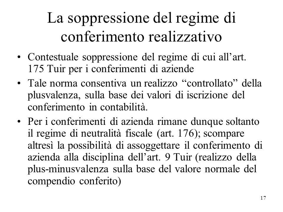 La soppressione del regime di conferimento realizzativo Contestuale soppressione del regime di cui allart. 175 Tuir per i conferimenti di aziende Tale