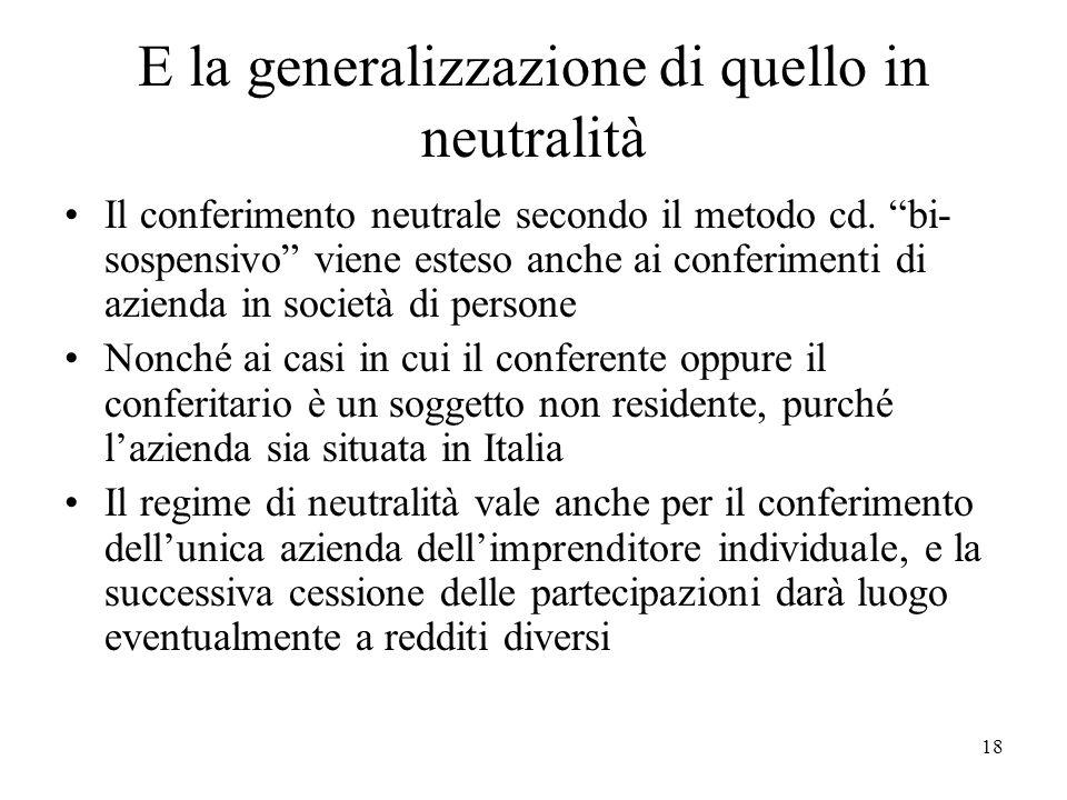 E la generalizzazione di quello in neutralità Il conferimento neutrale secondo il metodo cd. bi- sospensivo viene esteso anche ai conferimenti di azie