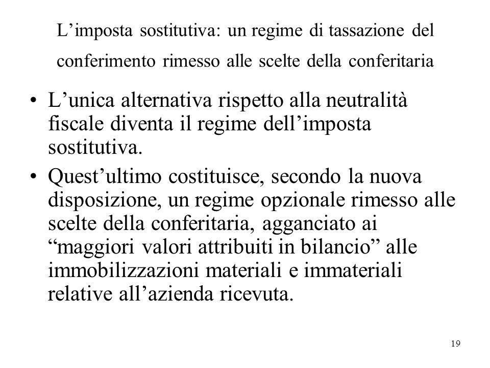 Limposta sostitutiva: un regime di tassazione del conferimento rimesso alle scelte della conferitaria Lunica alternativa rispetto alla neutralità fisc