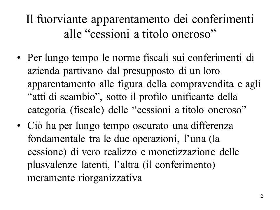 Il fuorviante apparentamento dei conferimenti alle cessioni a titolo oneroso Per lungo tempo le norme fiscali sui conferimenti di azienda partivano da