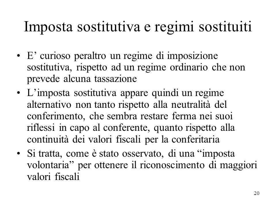 Imposta sostitutiva e regimi sostituiti E curioso peraltro un regime di imposizione sostitutiva, rispetto ad un regime ordinario che non prevede alcun