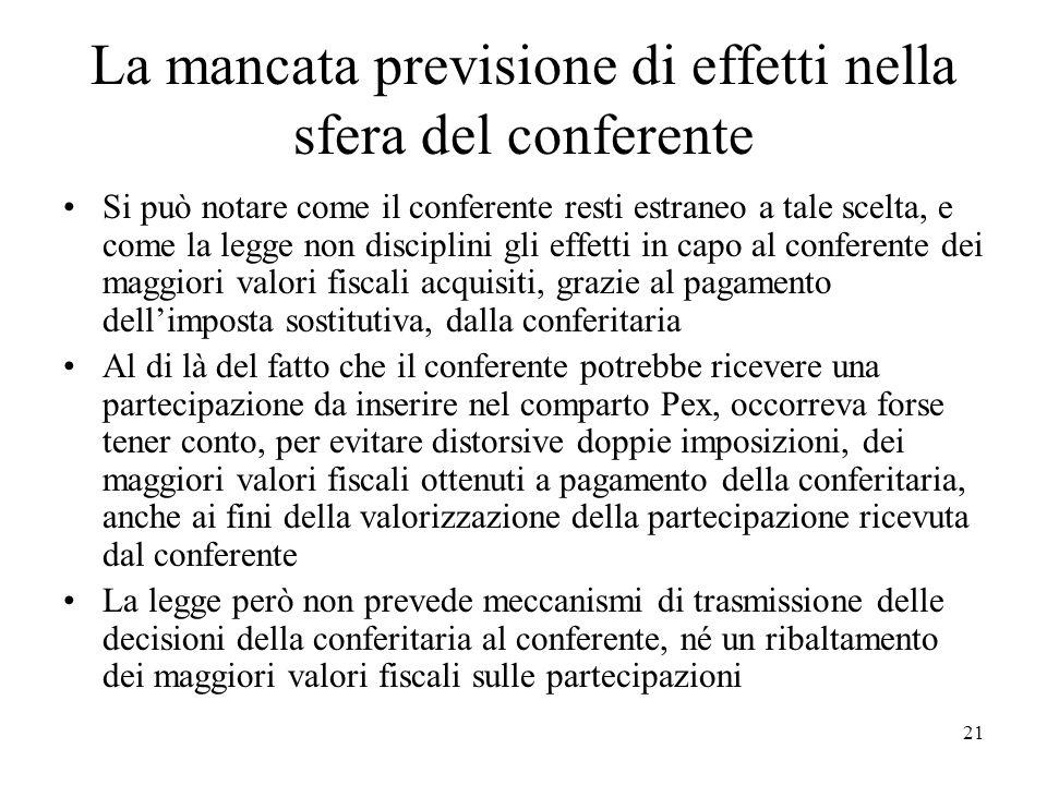 La mancata previsione di effetti nella sfera del conferente Si può notare come il conferente resti estraneo a tale scelta, e come la legge non discipl