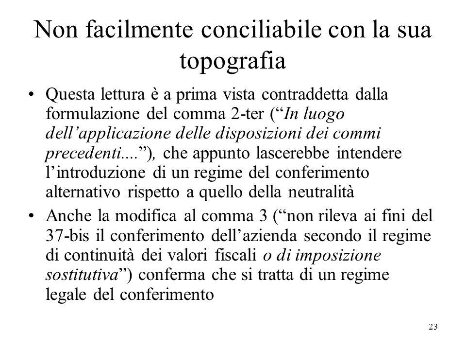 Non facilmente conciliabile con la sua topografia Questa lettura è a prima vista contraddetta dalla formulazione del comma 2-ter (In luogo dellapplica