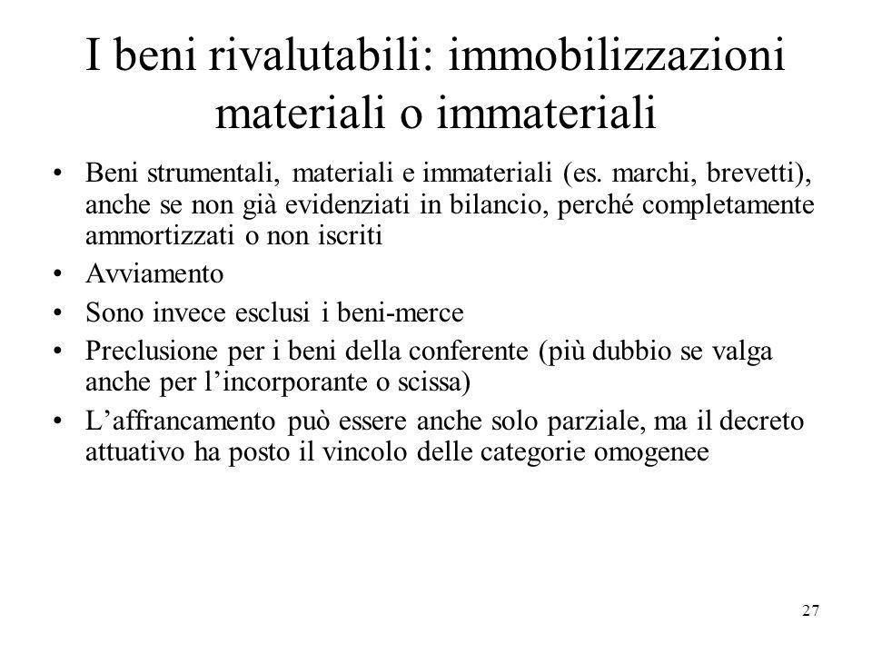 I beni rivalutabili: immobilizzazioni materiali o immateriali Beni strumentali, materiali e immateriali (es. marchi, brevetti), anche se non già evide