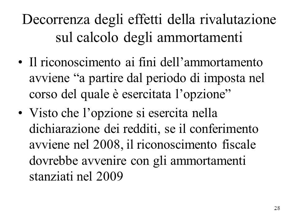 Decorrenza degli effetti della rivalutazione sul calcolo degli ammortamenti Il riconoscimento ai fini dellammortamento avviene a partire dal periodo d