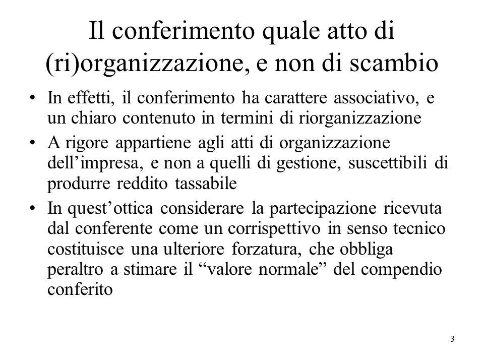 Il conferimento quale atto di (ri)organizzazione, e non di scambio In effetti, il conferimento ha carattere associativo, e un chiaro contenuto in term