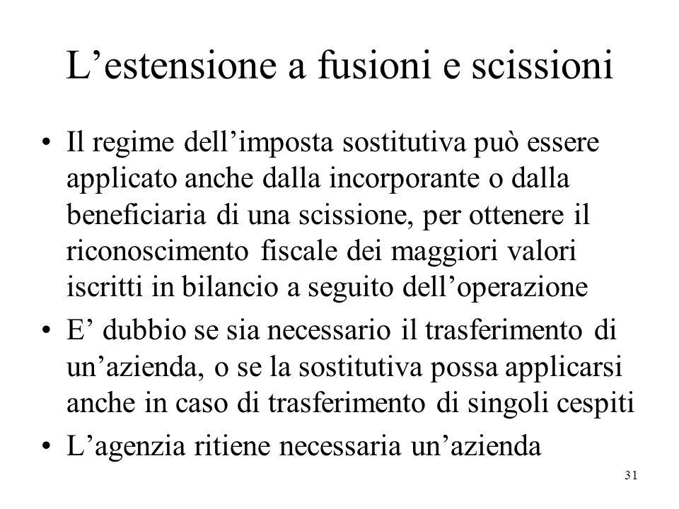 Lestensione a fusioni e scissioni Il regime dellimposta sostitutiva può essere applicato anche dalla incorporante o dalla beneficiaria di una scission