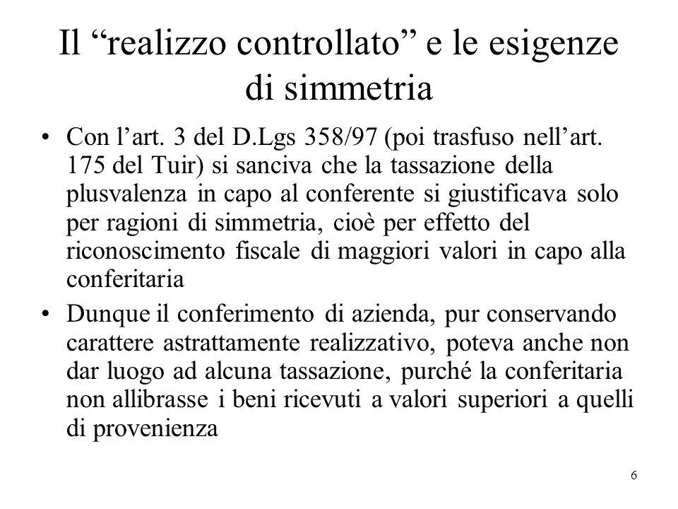 Il realizzo controllato e le esigenze di simmetria Con lart. 3 del D.Lgs 358/97 (poi trasfuso nellart. 175 del Tuir) si sanciva che la tassazione dell