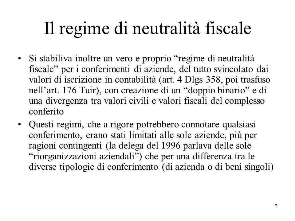 Il regime di neutralità fiscale Si stabiliva inoltre un vero e proprio regime di neutralità fiscale per i conferimenti di aziende, del tutto svincolat
