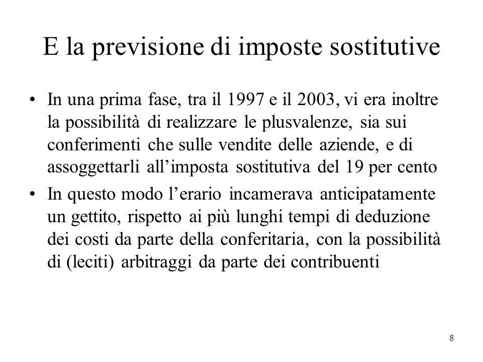 E la previsione di imposte sostitutive In una prima fase, tra il 1997 e il 2003, vi era inoltre la possibilità di realizzare le plusvalenze, sia sui c