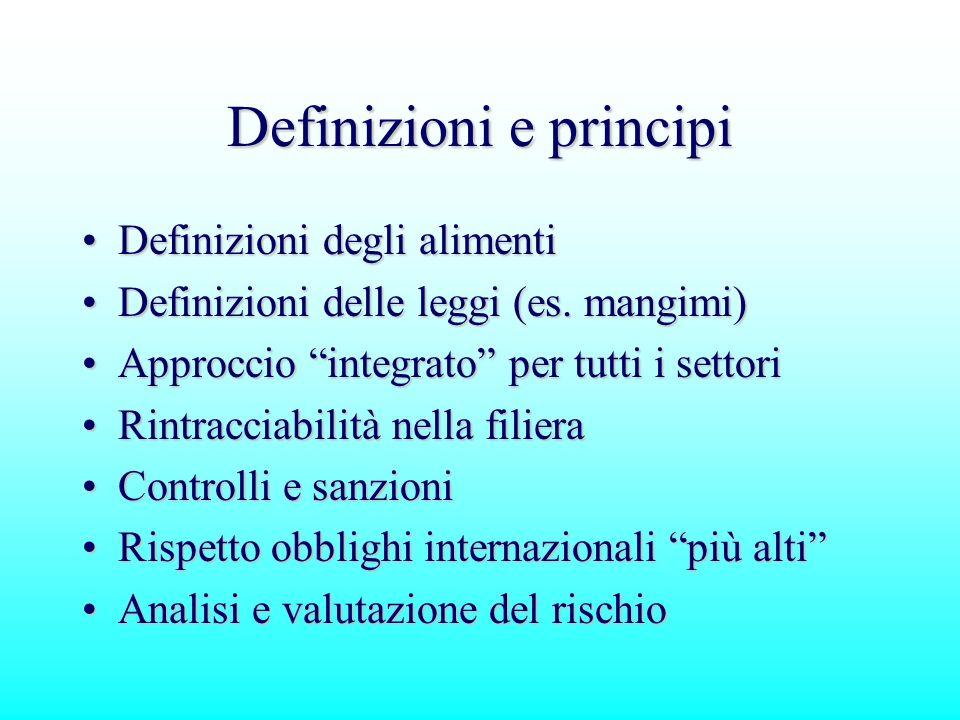 Definizioni e principi Definizioni degli alimentiDefinizioni degli alimenti Definizioni delle leggi (es. mangimi)Definizioni delle leggi (es. mangimi)